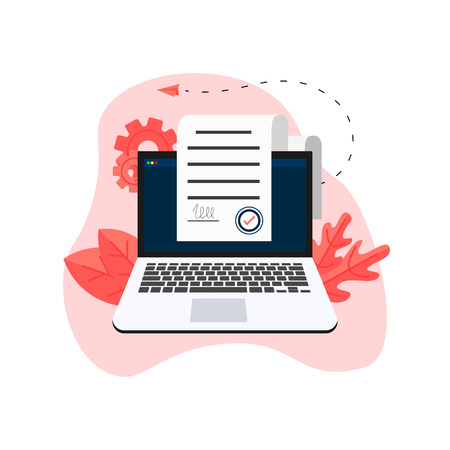 Online electronic smart contract document on laptop, paper document, signature on computer screen. vector illustration. Business concept. 矢量图像