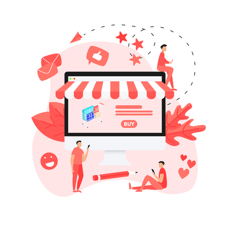 Online shopping concept, shopping basket and man, buying online store. Illustration