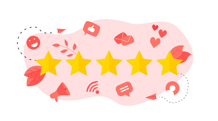 Five star customer rating. Concept of feedback. Vectores