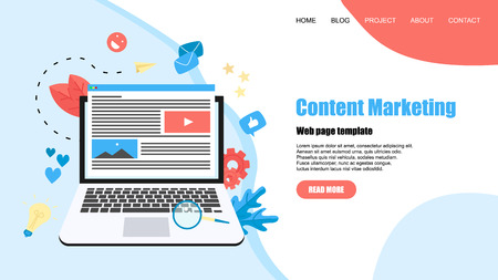 Webpage template. Content Marketing, Blogging and SMM concept. Articles and media materials.