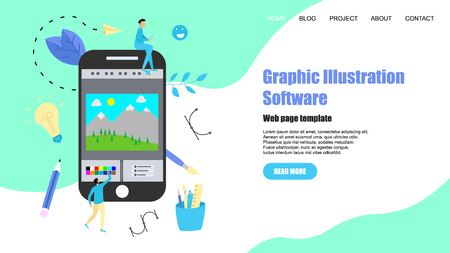Webpage Template. Flat vector graphic drawing concept with open illustration application with a creative project.