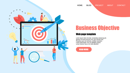 Webpage template. Business objective with an arrow, hit the target, goal achievement. Business concept vector illustration.