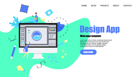 Webpage Template. Flat vector graphic design concept with an open design application with a creative project.