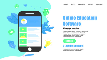 Webpage Template. Online education app. E-learning concept.  イラスト・ベクター素材