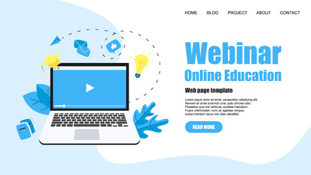Web Template. Webinar, internet conference, web based seminar, online education, e-learning flat design concept.