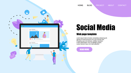 Web template with Social media concept with photo content, like and comment. Vector flat illustration.