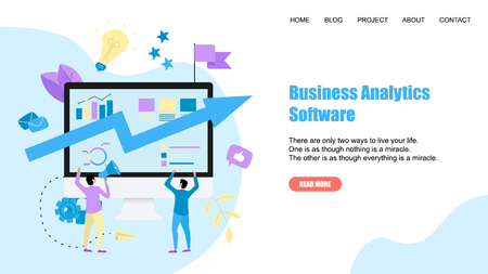 Webpage Template. Business analytics software blue arrow. Finance concept.