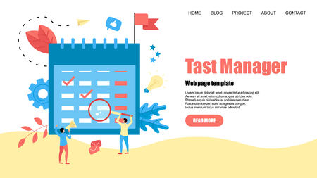 Web Template. Flat design task Manager with events, reminders and planning.