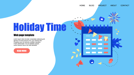 Web Template. Holiday time illustration with purple mark on red-letter day.