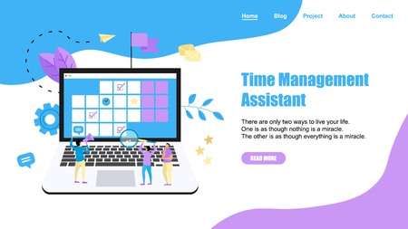 Web Template. Online time management assistant with marks, tasks and notes . Concept of time management. with business icons.