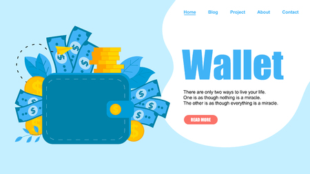 Webpage Template. Wallet with dollar banknotes and coins. Finance bank concepts.  イラスト・ベクター素材