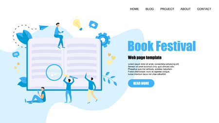 Web Template. Flat design open book. Reading concept. Vector illustration.  イラスト・ベクター素材