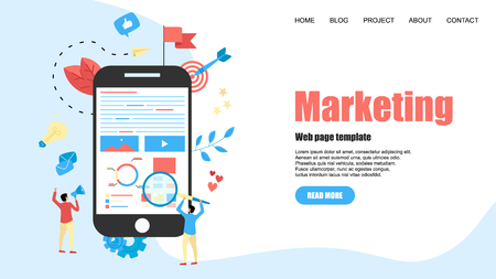 Web Template. Concept for Digital marketing agency, digital media campaign flat vector illustration.