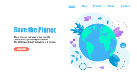 Web Template. Save Planet vector flat illustration. Concept save the planet and environment.