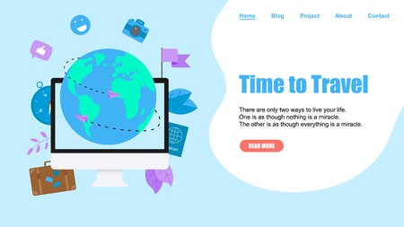 Webpage Template. Concept of Time to Travel. Planet Earth for travel flat design concept with two airplanes.  イラスト・ベクター素材