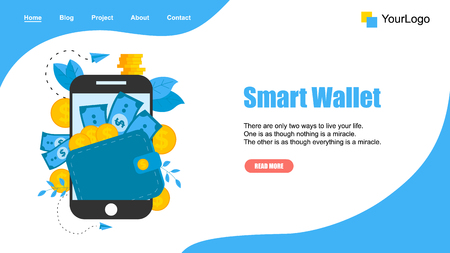Webpage Template. Smart wallet with dollar banknotes and coins. Finance bank concepts.  イラスト・ベクター素材