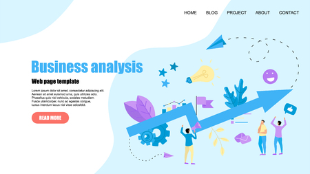 Web Template. Abstract business growth blue arrow. Finance concept.