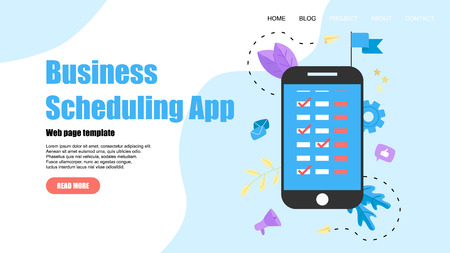 Webpage Template. Flat design business scheduling app on laptop computer with events, reminders and planning.