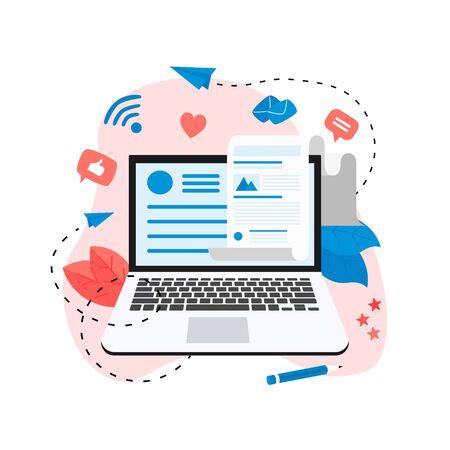 Negocios, comunicación, publicación de blogs en Internet. Ilustración de vector de diseño plano.