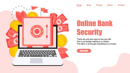 Webpage Template. Online safe box with money saving dollar coins. Finance concept. Illustration