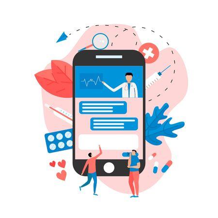 Online healthcare and medical consultation concept on laptop. Vector flat illustration. Vektorové ilustrace