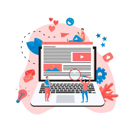 Content Marketing, Blogging and SMM concept. Articles and media materials. Illustration