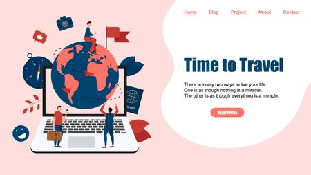 Webpage Template. Concept of Time to Travel. Planet Earth for travel flat design concept with two airplanes. Иллюстрация
