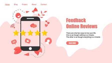 Webpage Template. Five star customer online rating. Concept of feedback. Illustration
