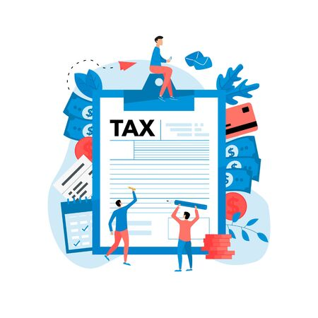Tax payment vector illustration concept. Filling tax form..