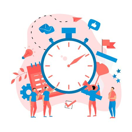 Vector illustration. Clock, calendar and hourglass. Concept of time management. with business icons.
