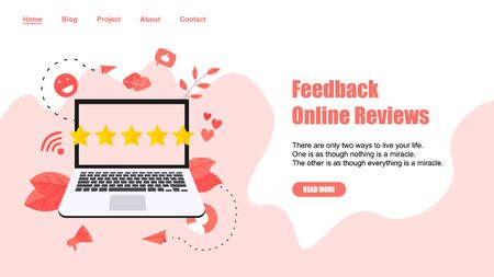 Webpage Template. Five star customer online rating. Concept of feedback. Vectores