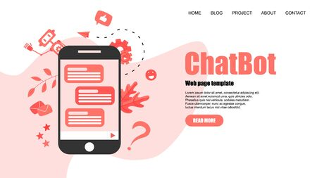 Webpage Template. Chatbot business concept. Communication with chatbot. Artificial intelligence in customer support.