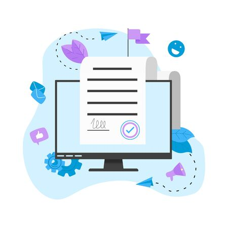 Online electronic smart contract document, paper document, signature on device screen. Vector illustration. Business concept