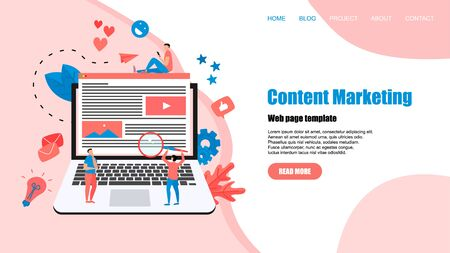 Concept of Content Marketing. Website landing web page template.