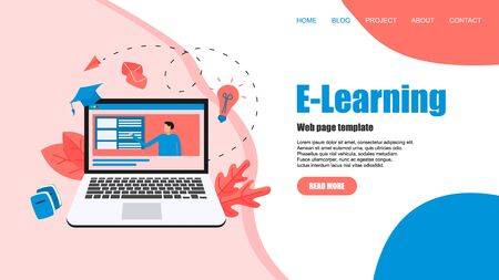 Webpage template with Online education or web course with distance teacher. E-learning concept.