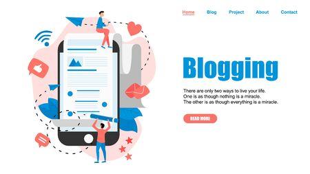 Webpage Template, Business, communication, internet blogging post. Flat design vector illustration. Illustration