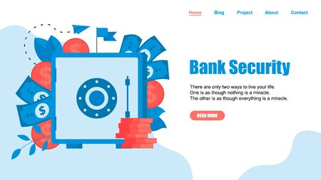 Webpage Template. Safe box with money saving dollar coins. Finance concept. Vektorové ilustrace