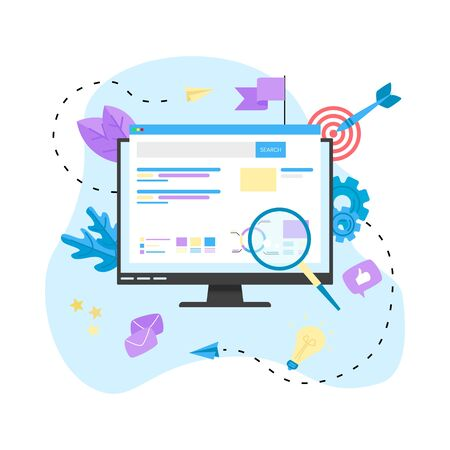 Seo analysis with search and magnifier. Business concept.