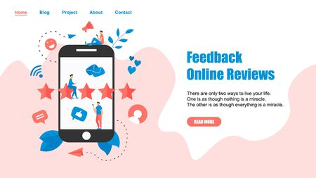 Webpage Template. Five star customer online rating. Concept of feedback..