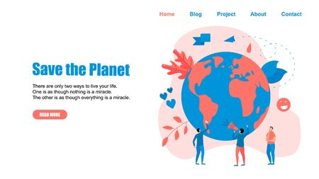 Web Template. Concept save the planet and environment.  イラスト・ベクター素材