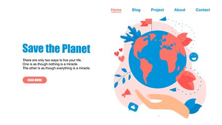 Web Template. Concept save the planet and environment. Illustration