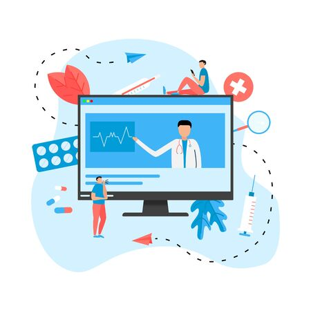 Online healthcare and medical consultation concept. Vector flat illustration.  イラスト・ベクター素材