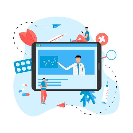 Online healthcare and medical consultation concept. Vector flat illustration. Illustration