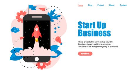 Webpage Template. Concept of startup launch of a new online business.  イラスト・ベクター素材