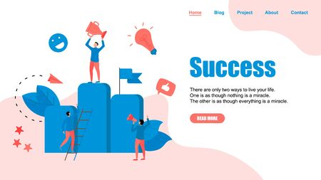 Vector creative illustration of business success concept. Flat design for web banner, business material.  イラスト・ベクター素材