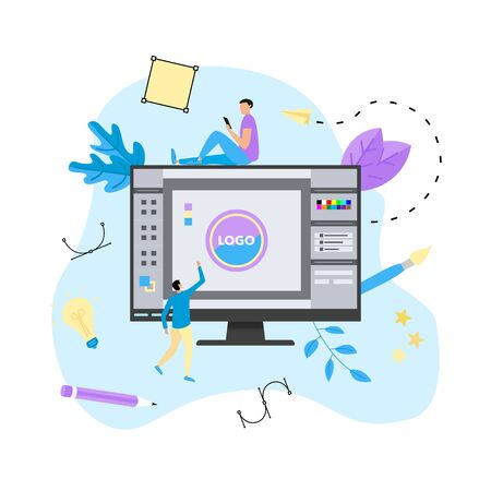 Flat vector graphic design concept with designer with an open design application with a creative project.