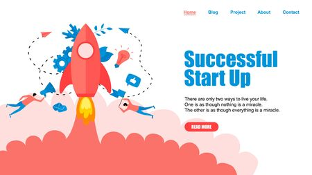 Webpage Template. Concept of startup launch of a new business.