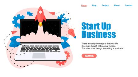 Webpage Template. Concept of startup launch of a new online business. Illustration