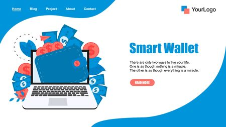Webpage Template. Smart wallet with dollar banknotes and coins. Finance bank concepts..