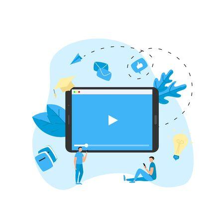 Webinar, internet conference, web based seminar, online education, e-learning flat design concept.